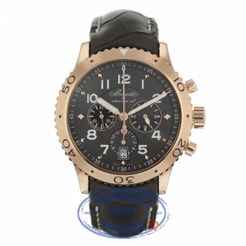 Breguet Transatlantique Type XXI Flyback Chronograph 42mm 18k Rose Gold Ruthenium Dial 3810BR/92/9ZU 35X5U3 - Beverly Hills Watch Company