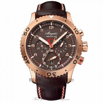 Breguet Transatlantique Type XXII Flyback Chronograph 44MM 18k Rose Gold Brown Dial Brown Alligator Strap G3880BR/Z2/9XV 0FMF2A - Beverly Hills Watch Company