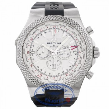 Breitling Bentley GMT Chronograph 49MM Stainless Steel Silver Dial Rubber Strap A4736212/G657 HF4M80 - Beverly Hills Watch Company Watch Store