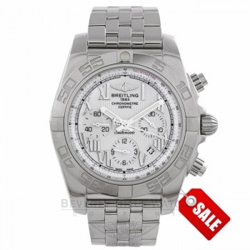 Breitling Chronomat 44 B01 Stainless Steel White Dial Bracelet AB011012/A690-SS 19212 - Beverly Hills Watch Company Watch Store