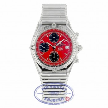 "Breitling Chronomat ""The Red Arrows"" 40mm Stainless Steel Red Dial A13050 4JTVP7 - Beverly Hills Watch Company"