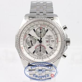 Breitling for Bentley Motors Special Edition Chronograph Day Date Stainless Steel Bracelet Silver Dial Watch A1336212/A575 Beverly Hills Watch Company Watch Store