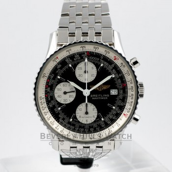 Breitling Old Navitimer Stainless Steel Bracelet Black Dial White Sub Dials Automatic Chronograph Watch A13022