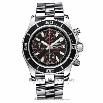 Breitling Superocean Chronograph II Stainless Steel Black Dial Abyss Red Second Hand A13341A8/BA81 4JZSLX - Beverly Hills Watch Company Watch Store