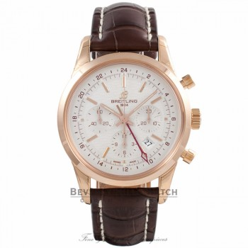 Breitling Transocean Chronograph GMT Silver Dial 18k Rose Gold Brown Alligator Strap RB045112/G773 - Beverly Hills Watch Company Watch Store