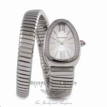 Bulgari Serpenti Tubogas 35MM Stainless Steel Silver Dial Diamond SP35C6SDS.1T/L VCA2FW - Beverly Hills Watch Store