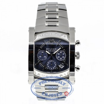 Bulgari Assioma Stainless Steel Bracelet Chronograph Blue Dial Automatic Watch AA44C14SSDCH Beverly Hills Watch Company Watch Store