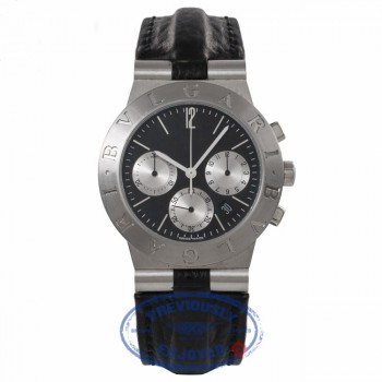 Bulgari Diagono Chronograph Stainless Steel Automatic Black Dial CH 35 S WDBKN6 - Beverly Hills Watch Store