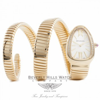 Bulgari Serpenti 18k Yellow Gold Diamond Bezel Silver Dial Double Twirl Wrap Around SP35C6GDG.2T ZIMBYZ - Beverly Hills Watch Company Watch Store
