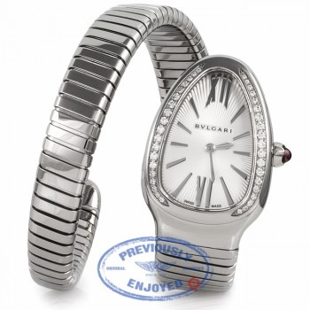 Bulgari Serpenti Diamond Bezel Stainless Steel 35MM SP35C6SDS.1T UXVJMB - Beverly Hills Watch Company Watch Store