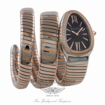 Bulgari Serpenti Tubogas Rose Gold and Stainless Diamond Bezel Double Spiral SP35BSPGD.2T UMPF1P - Beverly Hills Watch Company Watch Store