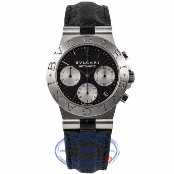 Bulgari Diagono Chronograph Stainless Steel Automatic Black Dial CH 35 S FBMSU5 - Beverly Hills Watch Company Watch Store
