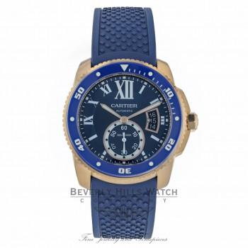 Cartier Calibre De Cartier Diver 42MM Rose Gold Blue Dial Automatic ADLC Case & Bezel on Rubber WGCA0010 KWYYZV - Beverly Hills Watch Company