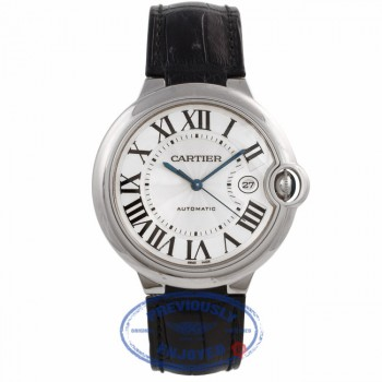 Cartier Ballon Bleu Large White Gold Silver Dial Alligator Strap W6900651 H0K73E - Beverly Hills Watch Company Watch Store