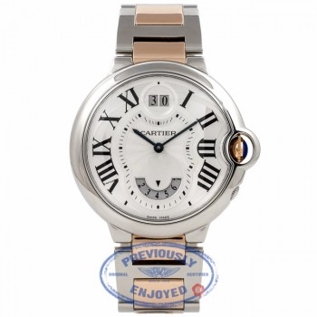 Cartier Ballon Bleu Dual Time Quartz Medium 18k Rose Gold Stainless Steel W6920027 SBMJEK - Beverly Hills Watch Company Watch Store