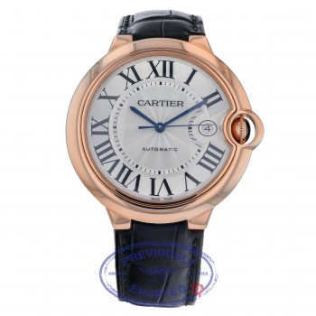Cartier Ballon Bleu Large 42mm Rose Gold Silver Dial W6900651 9VWW09 - Beverly Hills Watch Company