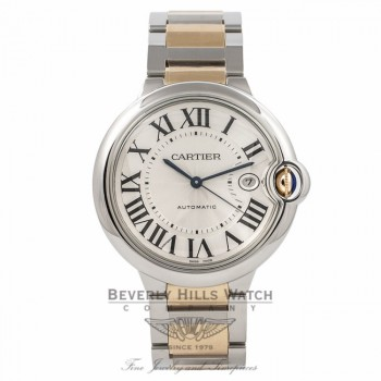 Cartier Ballon Bleu Large 18k Yellow Gold Stainless Steel Silver Dial W69009Z3 RWTRDL - Beverly Hills Watch Company