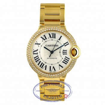 Cartier Ballon Bleu 36mm Medium Yellow Gold Diamond Bezel WE9004Z3 NY5YJP - Beverly Hills Watch Company