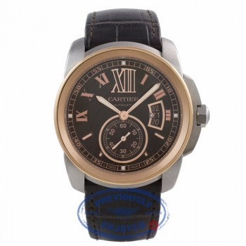 Cartier Calibre 42MM 18k Rose Gold Stainless Steel Chocolate Dial W7100051 090717 - Beverly Hills Watch Company Watch Store