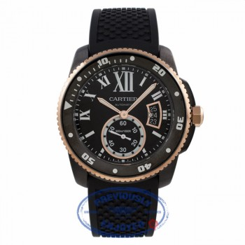 Cartier Calibre de Diver 42MM DCL Rose Gold Black Rubber Strap W2CA0004 L00809 - Beverly Hills Watch Company Watch Store