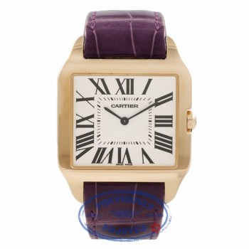 Cartier Santos Dumont 18kt Yellow Gold Purple Alligator Strap W2008751 LJ03A9 - Beverly Hills Watch Store
