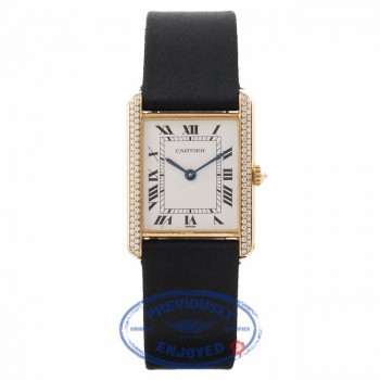 Cartier Gents Tank Louis Diamonds 18K Yellow Gold Case Satin strap 810523743 15714 - Beverly Hills Watch Store