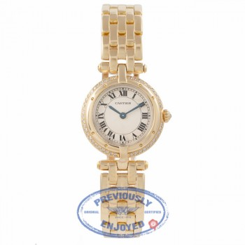 Cartier Panthere 18k Yellow Gold Diamond Bezel White Dial MFSXAI - Beverly Hills Watch Company Watch Store