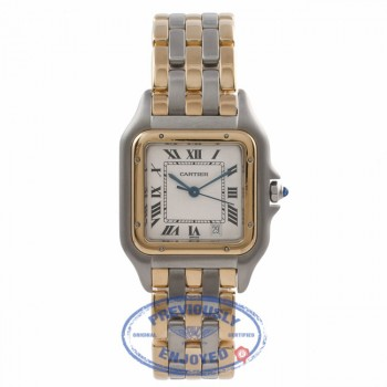 Cartier Panther 27MM 18k Yellow Gold Stainless Steel White Dial W25028B8 LFVLDM - Beverly Hills Watch Company