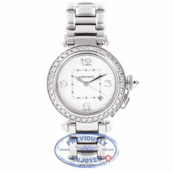 Cartier Pasha 32MM 18k White Gold Silver Dial Diamond Bezel Diamond Crown WJ1116M9 UYXSYX - Beverly Hills Watch Company Watch Store