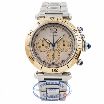 Cartier Pasha 38MM Chronograph 18K Yellow Gold Bezel Stainless Steel Bracelet 1032PASHA YM515U - Beverly Hills Watch Store