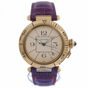Cartier Pasha 38MM 18k Yellow Gold Automatic Purple Strap 1595 T7U8ZF - Beverly Hills Watch Company Watch Store
