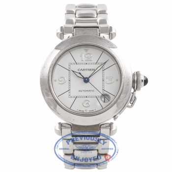 Cartier Pasha 35mm White Gold White Dial W30145M9 11147 - Beverly Hills Watch Company Watch Store