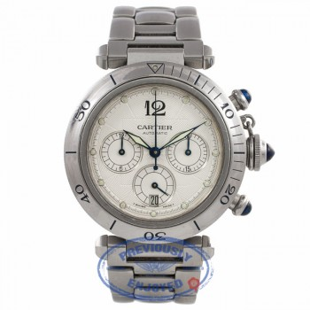Cartier Pasha Stainless Steel 38mm Automatic Chronograph White Dial Bracelet W31030H3 1JYDE9 - Beverly Hills Watch Company Watch Store