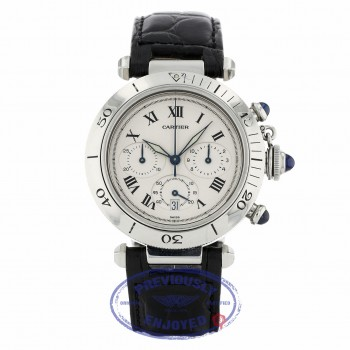 Cartier Pasha Chronograph Stainless Steel 38mm Ivory Dial 1050 779XCJ - Beverly Hills Watch