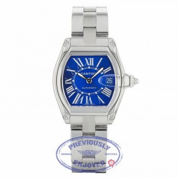 Cartier Roadster Stainless Steel Large Blue Sunray Dial W62048V3 XRW6AH - Beverly Hills Watch