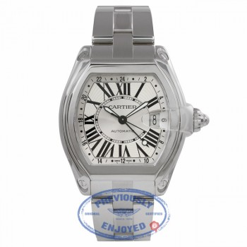 Cartier Roadster XL GMT Automatic Stainless Steel Silver Dial W62032X6 EVCAAJ - Beverly Hills Watch Store