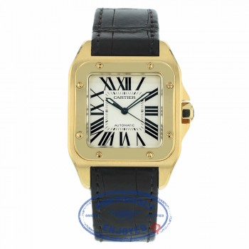 Cartier Santos 100 Large Yellow Gold White Dial Black Alligator Strap W20071Y1 F3FM7W - Beverly Hills Watch Company