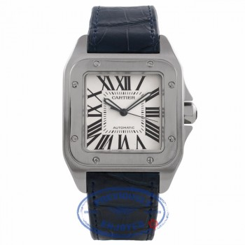 Cartier Santos 100 Large Mens Stainless Steel Leather Strap Watch W20073X8 DQD868 - Beverly Hills Watch Company Watch Store