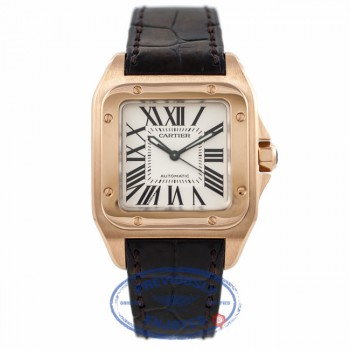 Cartier Santos 100 18k Rose Gold Medium W20108Y1 6AHHRA - Beverly Hills Watch Company Watch Store