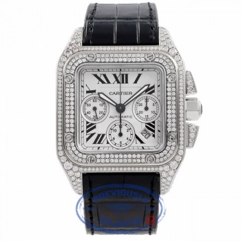 Cartier Santos 100 XL Chronograph Stainless Steel Custom Diamond Set W20090X8 DKHQZX