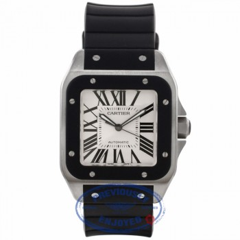 Cartier Santos 100 XL Black Rubber Bezel Stainless Steel Silver Dial Black Rubber Strap W20121U2 D2D0QA - Beverly Hills Watch Company Watch Store