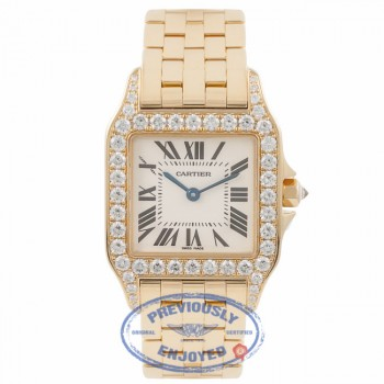 Cartier Santos Demoiselle Medium Diamond Bezel 18K Yellow Gold WF9002Y7 C70L7W - Beverly Hills Watch Company Watch Store