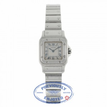 Cartier Santos Galbee Quartz Stainless Steel Creme Dial Blue Roman Numerals 1565 PP7WVF - Beverly Hills Watch