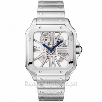 Cartier Santos Skeleton Large Stainless Steel Manual Wind WHSA0007 YP0VUX - Beverly Hills Watch