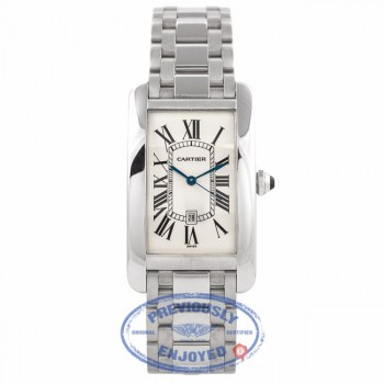 Cartier Tank American White Gold Ladies Watch W26019L1 QKGMMY - Beverly Hills Watch Store