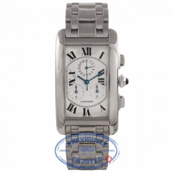 Cartier Tank Americaine Chronoflex 18k White Gold 29MM Silver Dial Bracelet W26033L1 FQDHJ7 - Beverly Hills Watch Company Watch Store