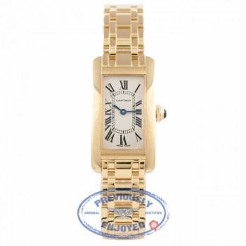 Cartier Tank Americaine Small 18K Yellow Gold White Dial W26015K2 M4PA5X - Beverly Hills Watch Store