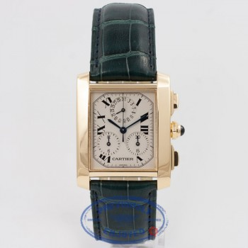 Cartier Tank Francaise Chronoflex Large Yellow Gold Leather Strap White Dial Watch W5000556 Beverly Hills Watch Company Watch Store