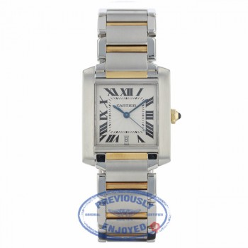 Cartier Tank Francaise Large 18k Yellow Gold Stainless Steel Silver Dial Bracelet W51005Q4 1YEFV3