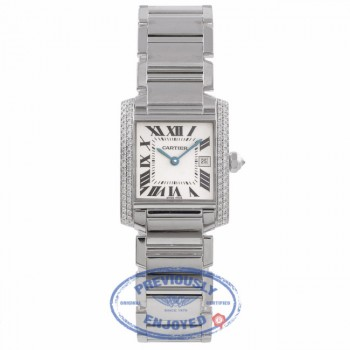 Cartier Tank Francaise Medium 18K White Gold Diamond Bezel White Dial Bracelet WE101853 N7YC0X